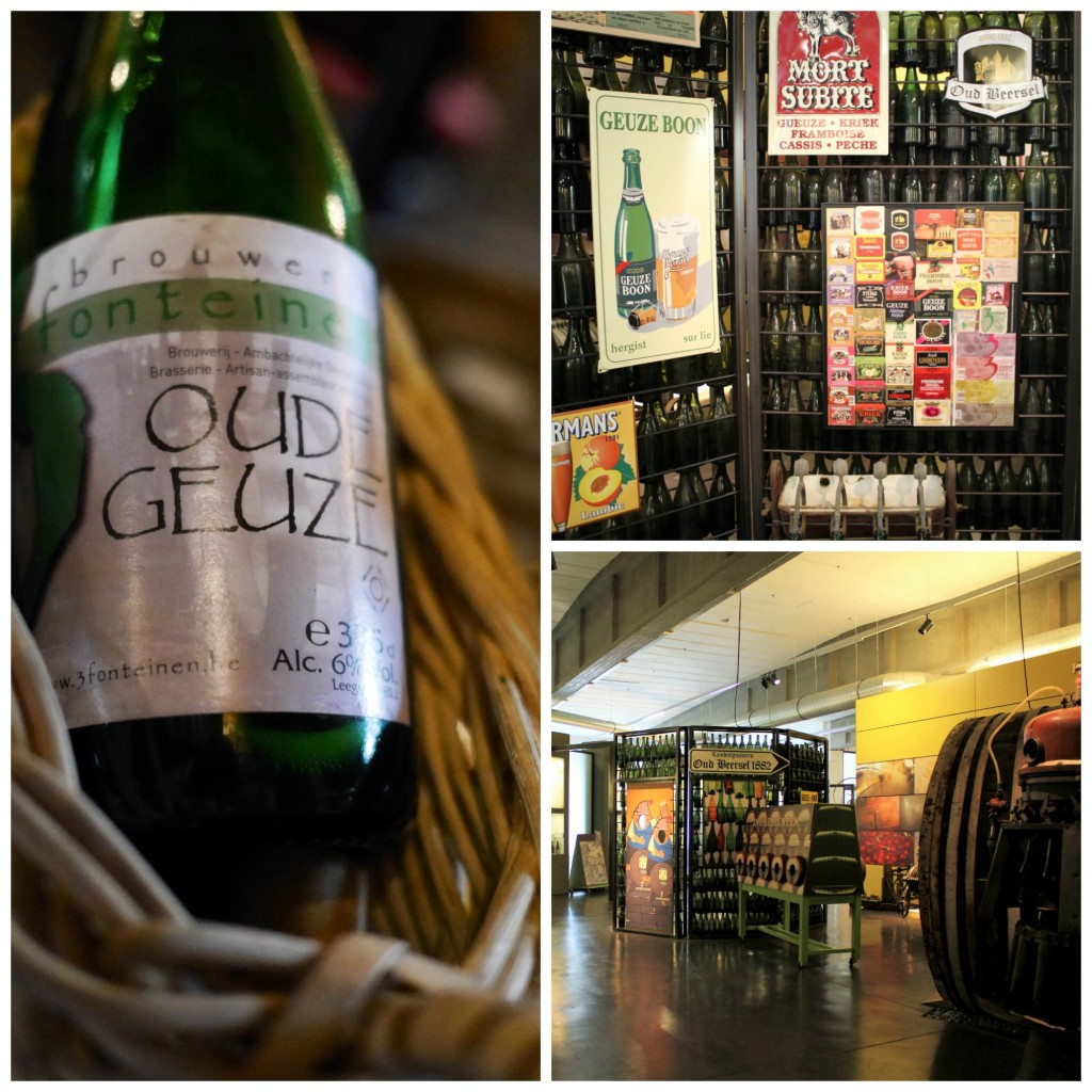 (Left) Oude Geuze by De Drie Fonteinen | Smabs Sputzer/Flickr/ (Top right) Famous lambic beers brewed on site | Courtesy of Anne Boyle/ (Bottom right) The Lambiek Visitor Centre contains an interactive exhibition about the history of lambic beer in Belgium | Courtesy of Anne Boyle