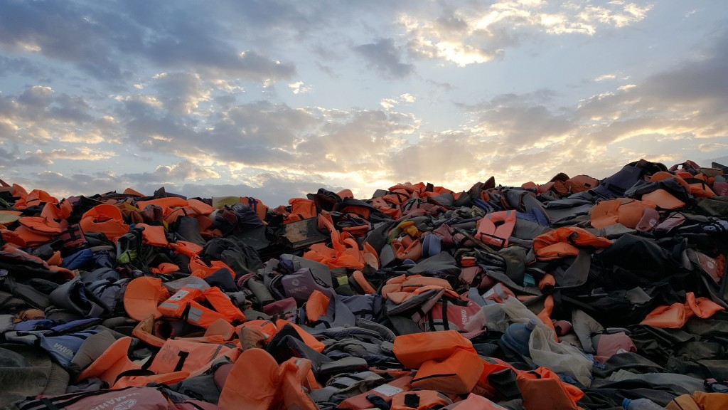 Life Jackets on Lesbos | Courtesy of Skye Fitzgerald