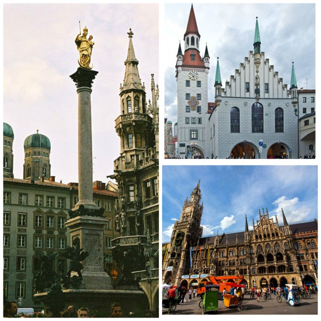 clockwise from left: Mariensäule © Bjs/WikiCommons| Old Town Hall © Pedelecs/WikiCommons | New Town Hall © Kevin Poh/Flickr