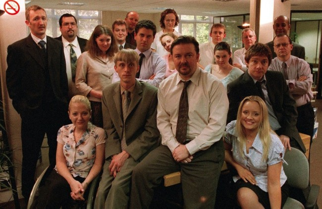 David Brent and colleagues in hit 2001-2003 TV series The Office | BBC