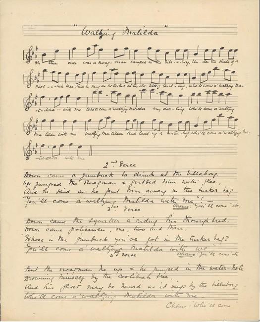 Original Waltzing Matilda manuscript 1895   © Christina Macpherson / WikiCommons