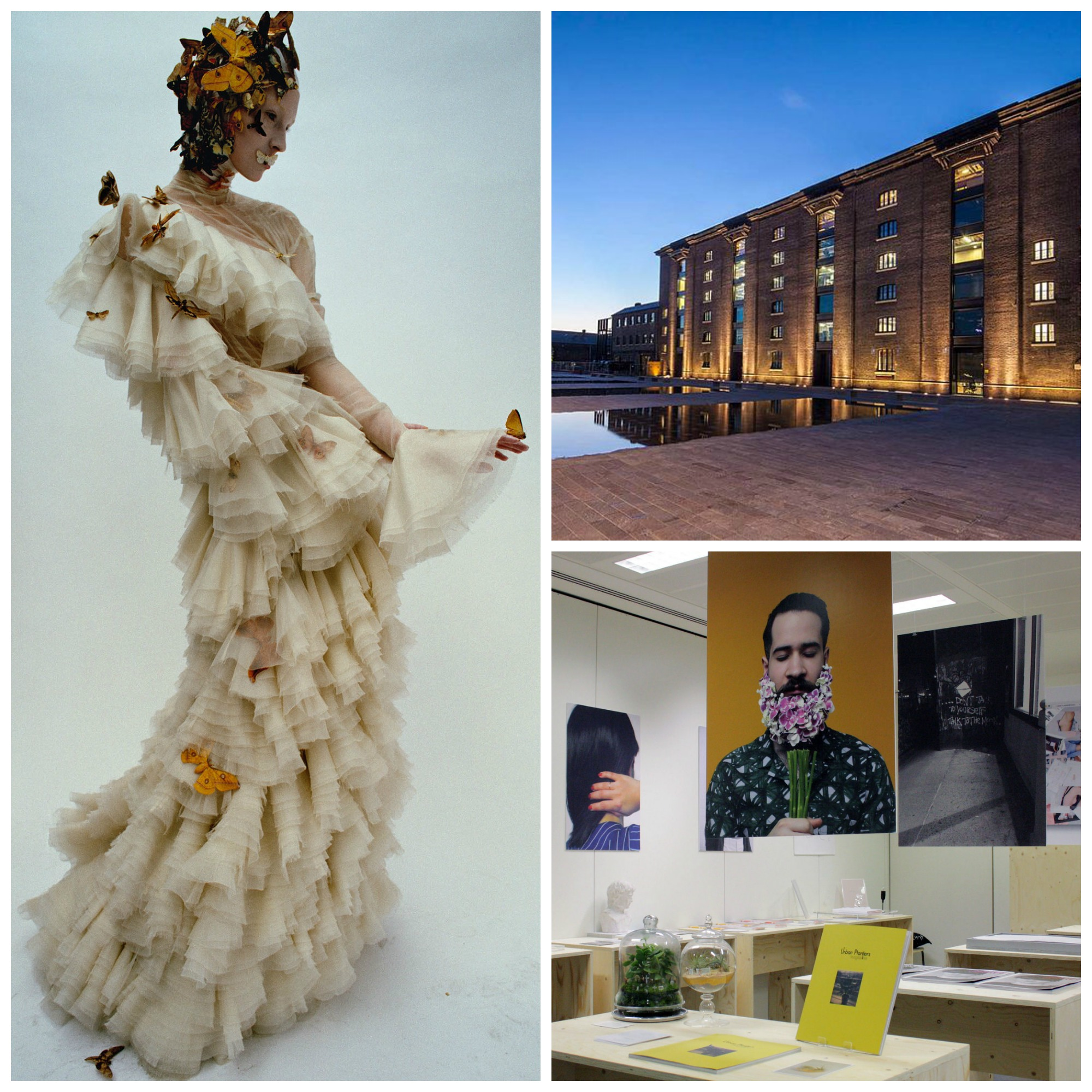 'Dark Angel' by Tim Walker for British Vogue, February, 2015, featuring Alexander McQueen - 'The Widows of Culloden' Autumn-Winter 2006 collection|©Ŧhe ₵oincidental Ðandy/Flickr / Central Saint Martins building, Granary Square|©University of the Arts, London/UAL / Show Two at Central St Martins, 2015|©SUARTS/Flickr