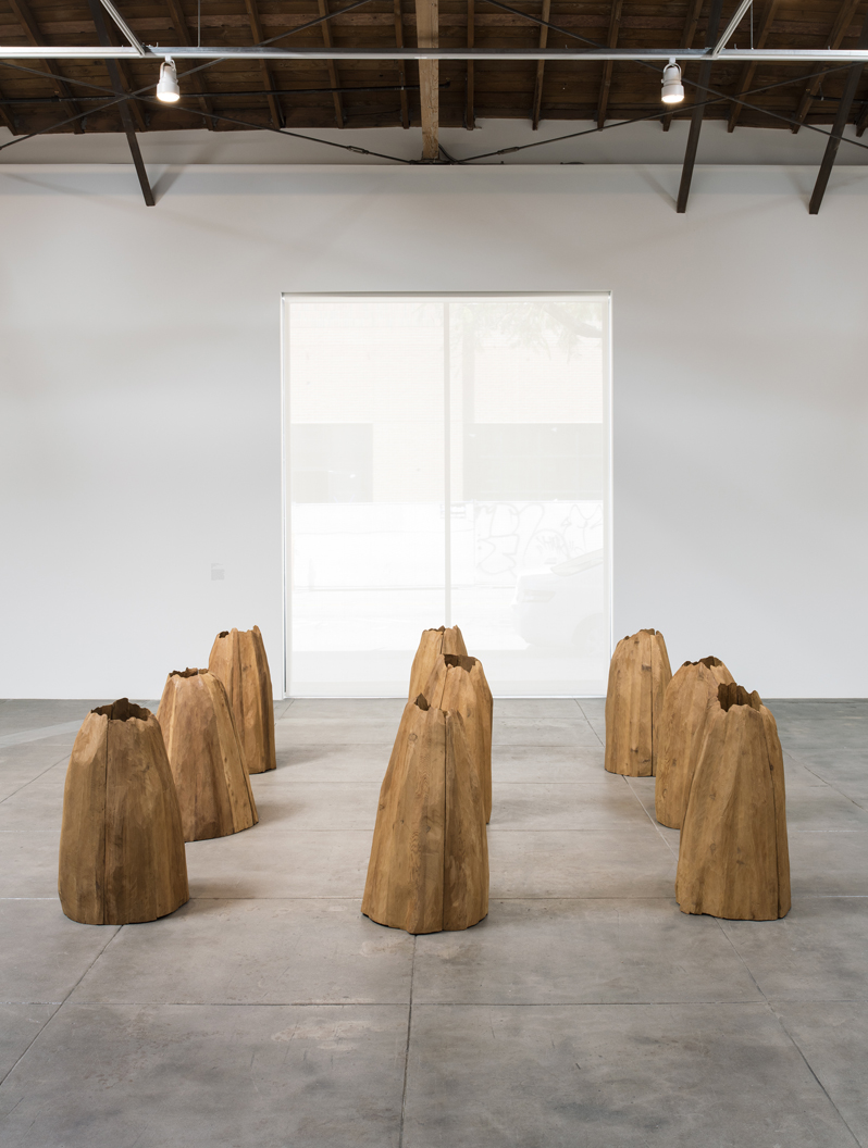 Ursula von Rydingsvard, Untitled (Nine Cones), 1976 Courtesy Galerie Lelong, New YorkInstallation view, 'Revolution in the Making: Abstract Sculpture by Women, 1947 – 2016', Hauser Wirth & Schimmel, 2016 Courtesy the artist and Hauser & Wirth Photo: Brian Forrest