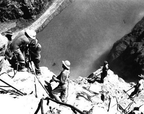 """Looking down at """"high scalers"""" above the Colorado River 