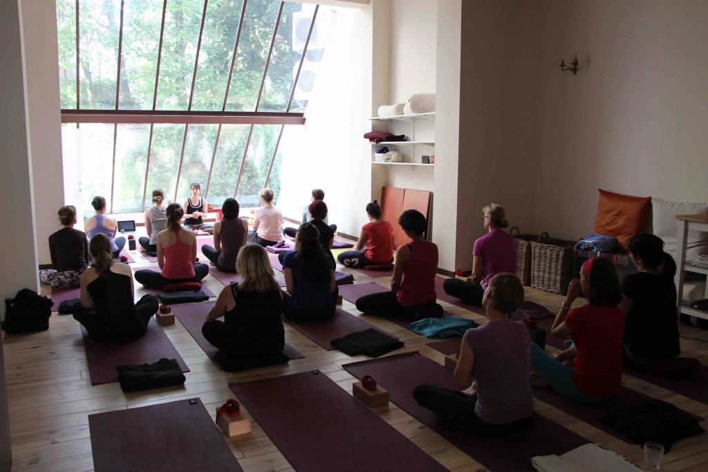 A wall-high window lights up the classes at Serendip | Courtesy of Serendip Spa & Yoga