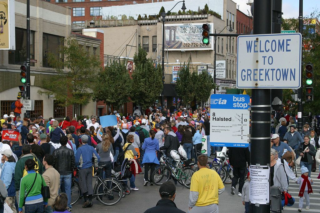 Halsted Street in Greektown, courtesy of Wikimedia Commons