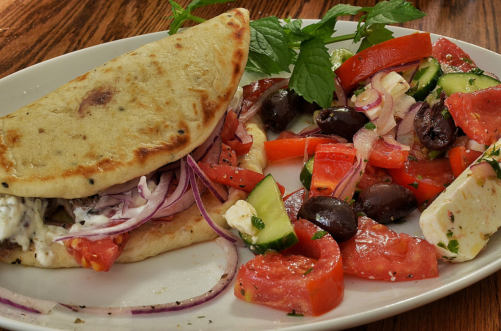 Gyro with Greek salad, courtesy of Flickr: jeffreyw