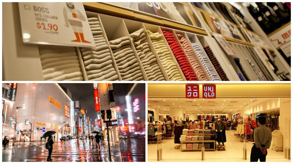 Uniqlo basic socks for sale in Washington, USA | © GoToVan/Flickr / Bottom left: Uniqlo store in Tokyo | © IQRemix/Flickr / An Uniqlo store in Hong Kong | © TeaLaiumens/WikiCommons