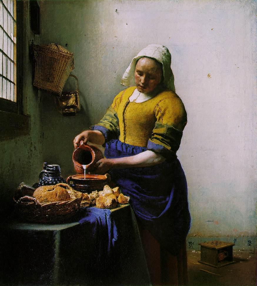 "Johannes Vermeer, 'The Milkmaid', 1660   <a href=""https://commons.wikimedia.org/wiki/File:Vermeer_-_The_Milkmaid.jpg"" target=""_blank"" rel=""noopener"">© The Rijksmuseum / WikiCommons</a>"