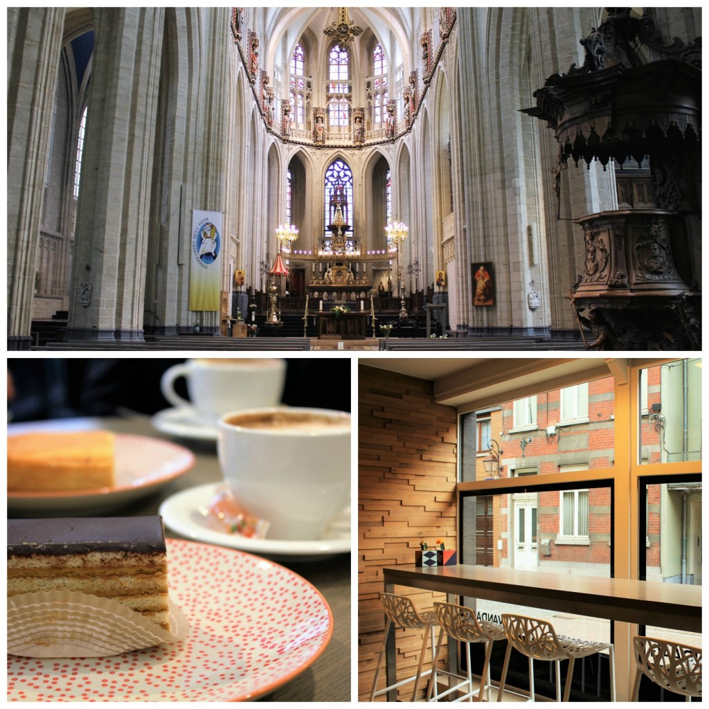 (Top) Visit the Basilica of Saint Martin | Courtesy of Anne Boyle/ (Bottom left) Enjoy a cake and cup of coffee at Vandaag | Courtesy of Anne Boyle/ (Bottom right) Enjoy a view of the Halle streets from Vandaag | Courtesy of Anne Boyle