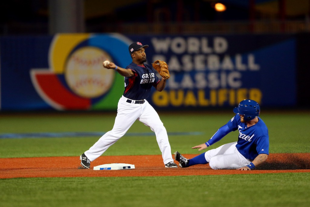 Albert Cartwright turns a double against Team Israel in Game 2 of the 2016 WBC Qualifier   © Alex Trautwig/MLB Photos via Getty Images
