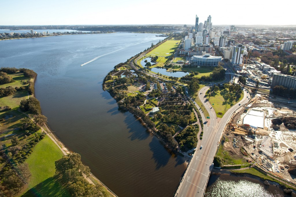 Aerial shot of East Perth and the Swan River | Courtesy of Tourism Western Australia
