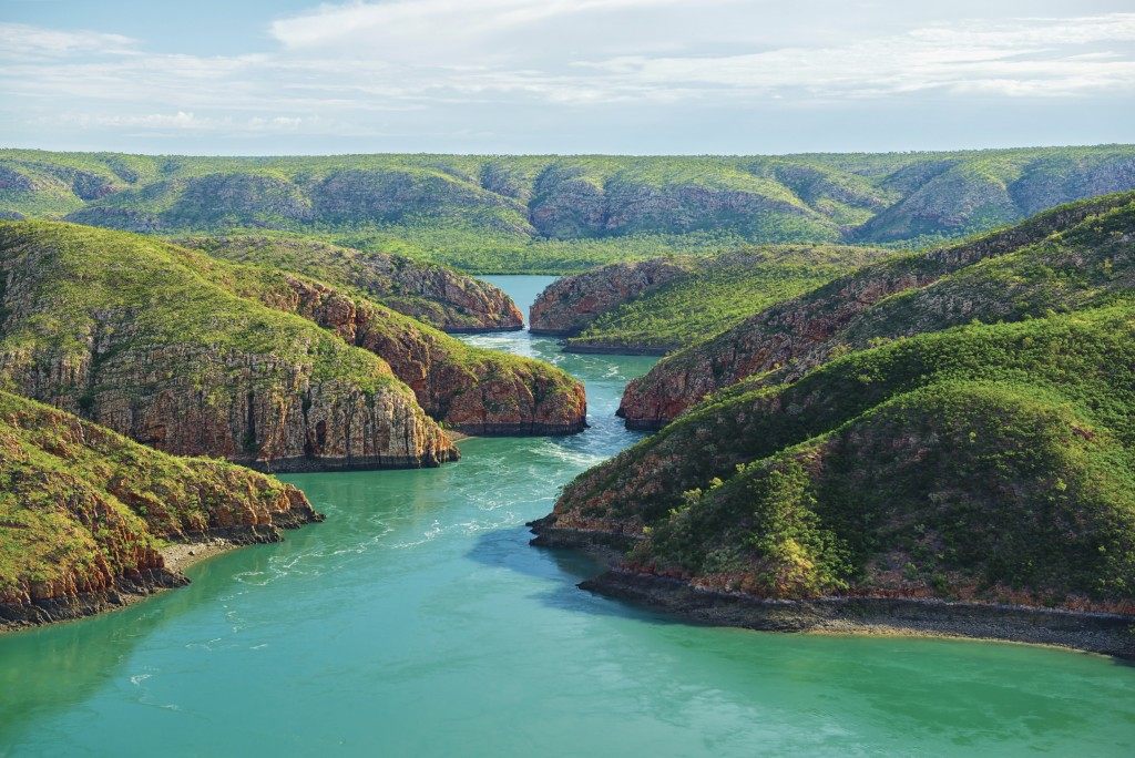 Aerial shot of the world's only Horizontal Waterfalls, Talbot Bay | © Lauren Bath