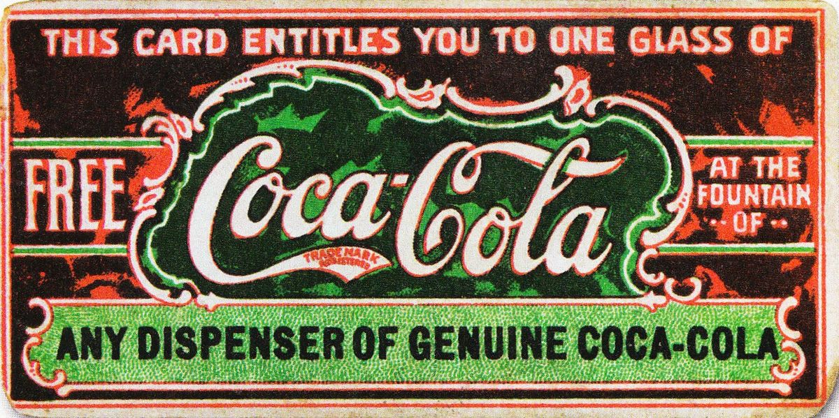 Believed to be the first coupon ever, this ticket for a free glass of Coca-Cola was first distributed in 1888 to help promote the drink | Public Domain/Wikicommons