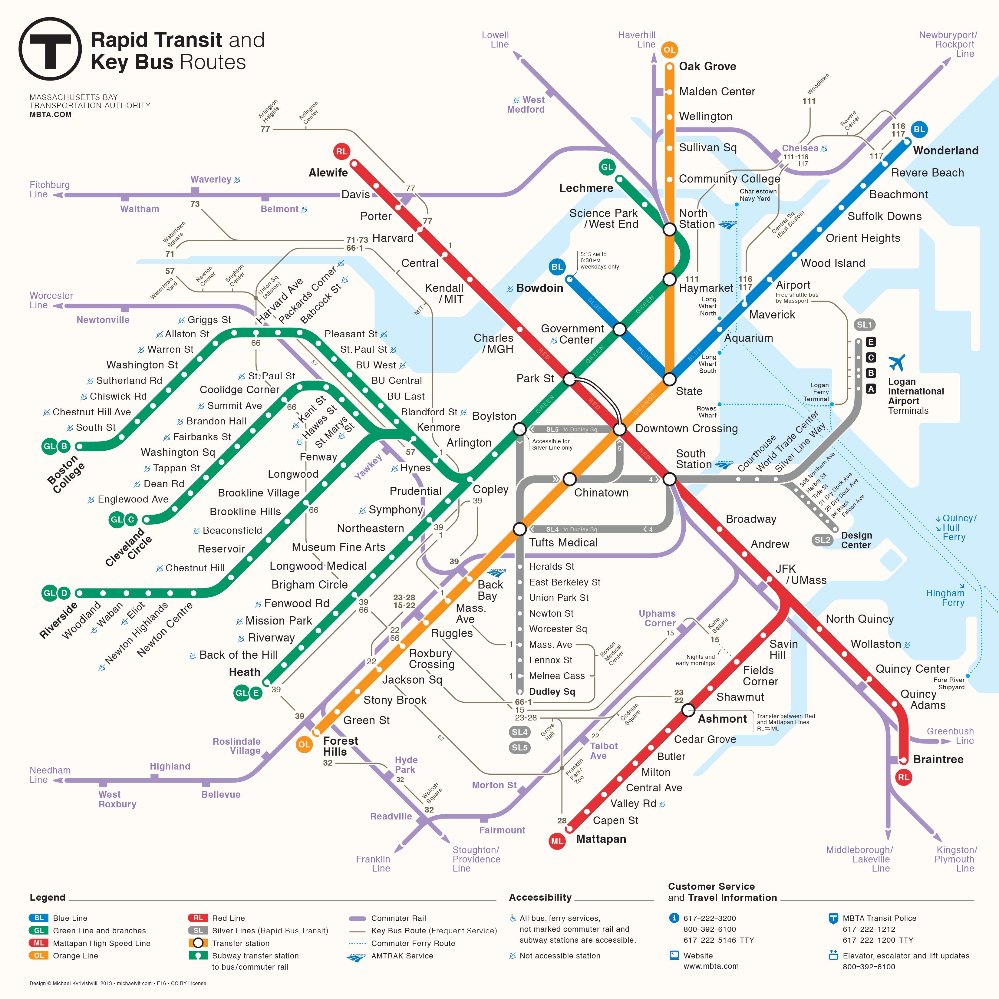 Cambridge Subway Map.The Boston Subway A Brief History Of The T