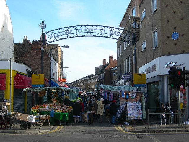 East Street Market, with a blue plaque dedicated to Charlie Chaplin © Danny P Robinson/Geograph