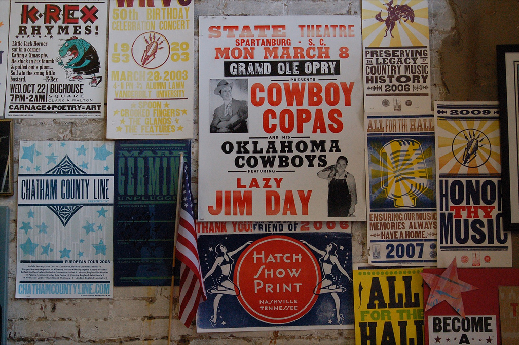 © There were letterpress country music posters everywhere, vige/Flickr
