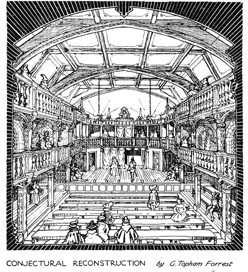 Drawing of the second Blackfriars Theatre according to legal descriptions of the times, where The Duchess of Malfi was first performed, by G. Topham Forrest (1921) |© Tom Reedy/Wikicommons