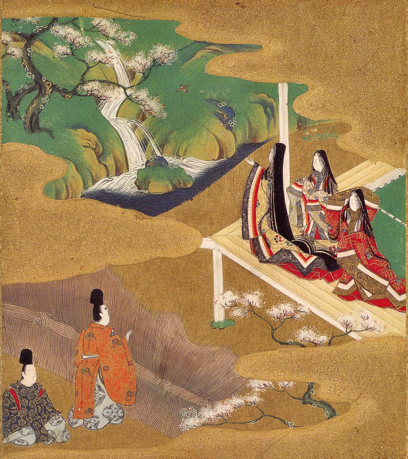 Women in the Heian Period admire the falls while men secretly watch | by Tosa Mitsuoki in the late 17th century