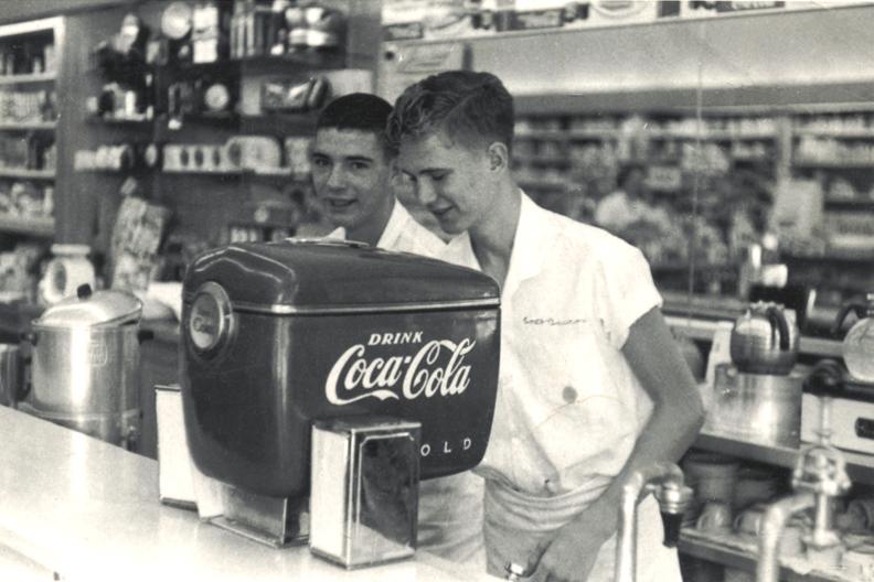 "Claimed to be the first installation anywhere of the 1948 model ""Boat Motor"" styled Coca-Cola soda dispenser, Fleeman's Pharmacy, Atlanta, Georgia | © Richard Warren Lipack/Wikicommons"