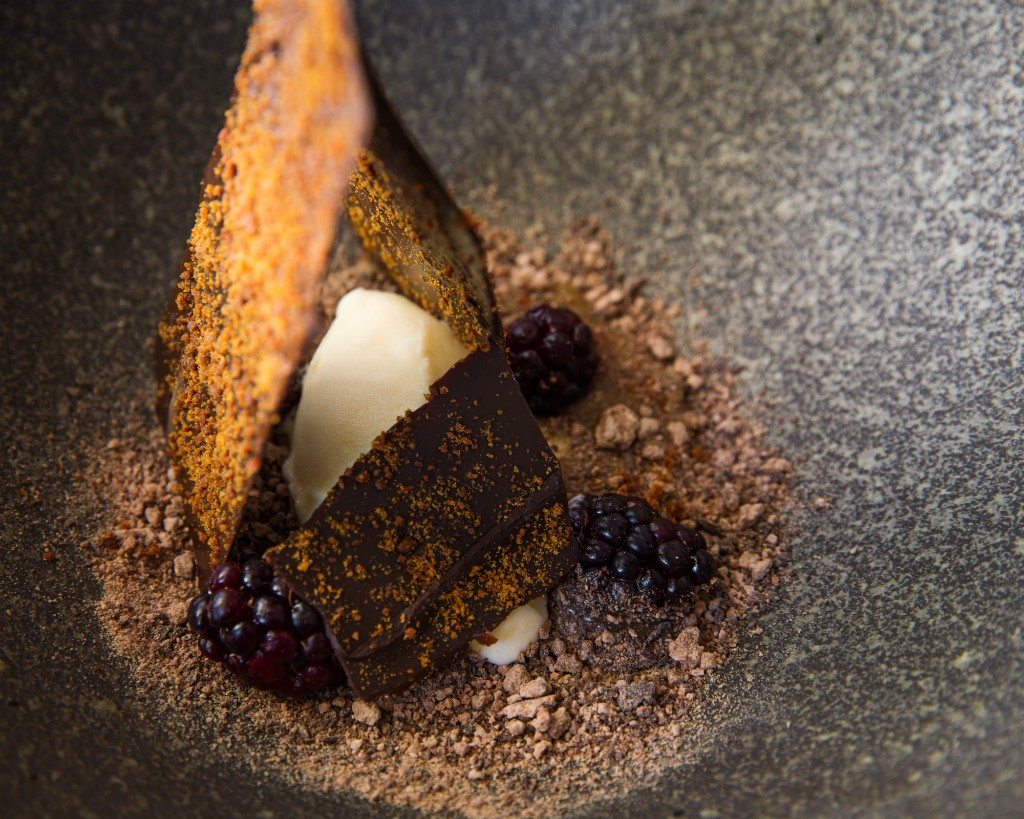 Miso & caramel, mulberries, lavender sorbet, chocolate shards & soil | Courtesy of Co-Op Dining