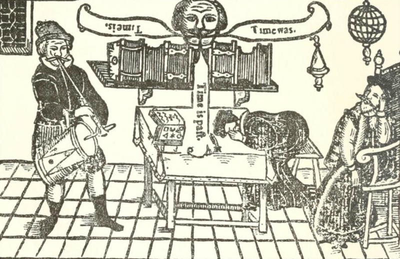 """A woodblock engraving of Miles playing the tambour while friars Bacon and Bungay sleep and the Brazen Head speaks """"Time Is. Time Was. Time Is Past."""" From the 1630 edition of Robert Greene's The Honorable Historie of Frier Bacon, and Frier Bongay. 