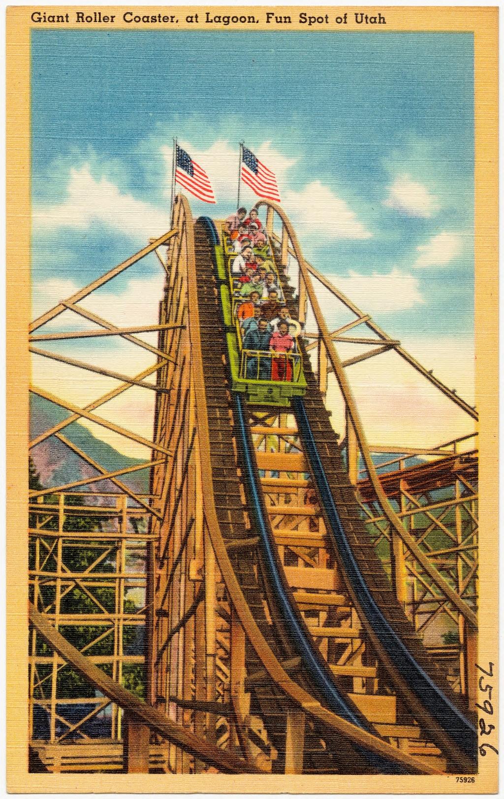 Giant_roller_coaster,_at_Lagoon,_fun_spot_of_Utah postcard