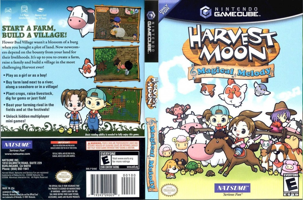 The Harvest Moon: Magical Melody cover art and back for the Gamecube system | © Natsume, scanned by Emu Paradise