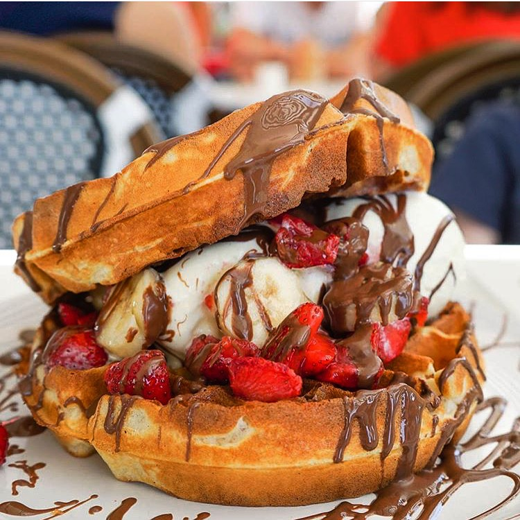 Waffle burger | Courtesy of Tella Balls Dessert Bar