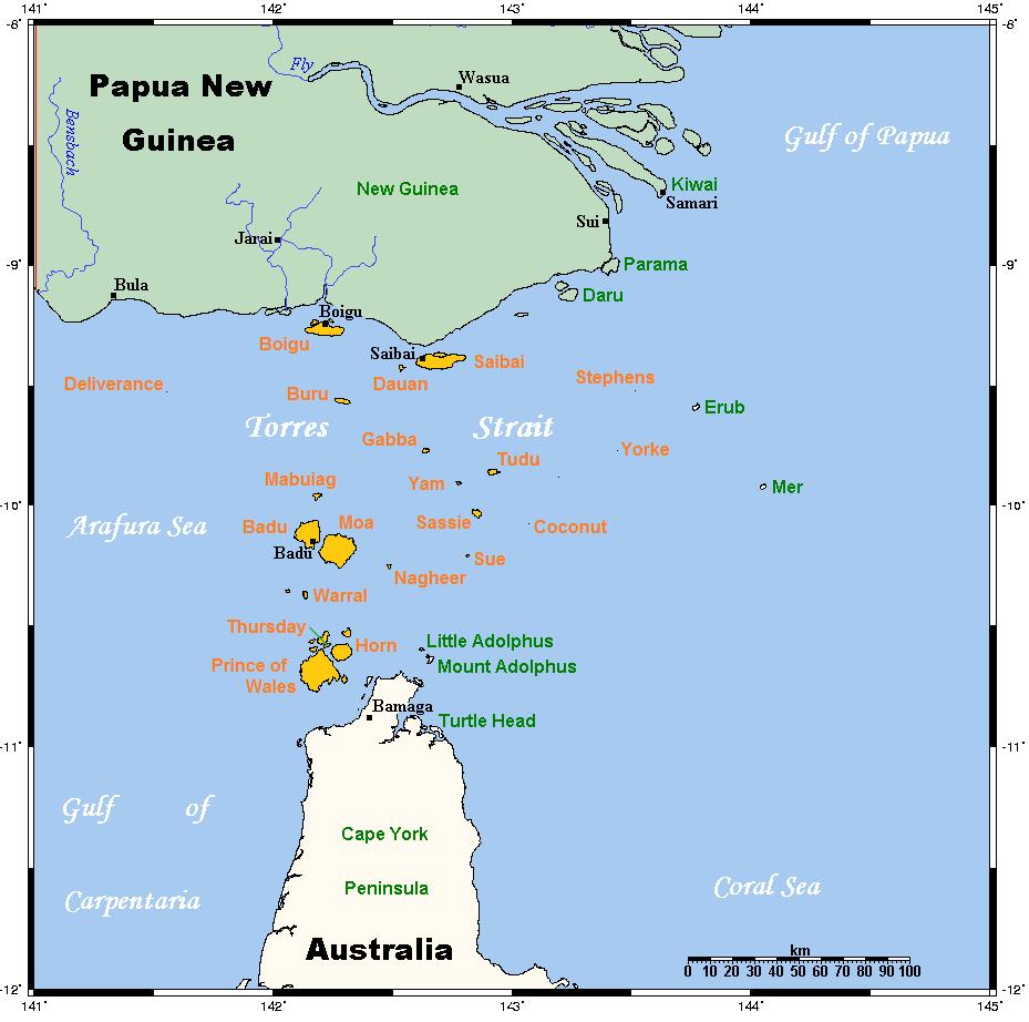 Range of Kalaw Lagaw Ya (orange) in the Torres Strait | © Kwamikagami / WikiCommons