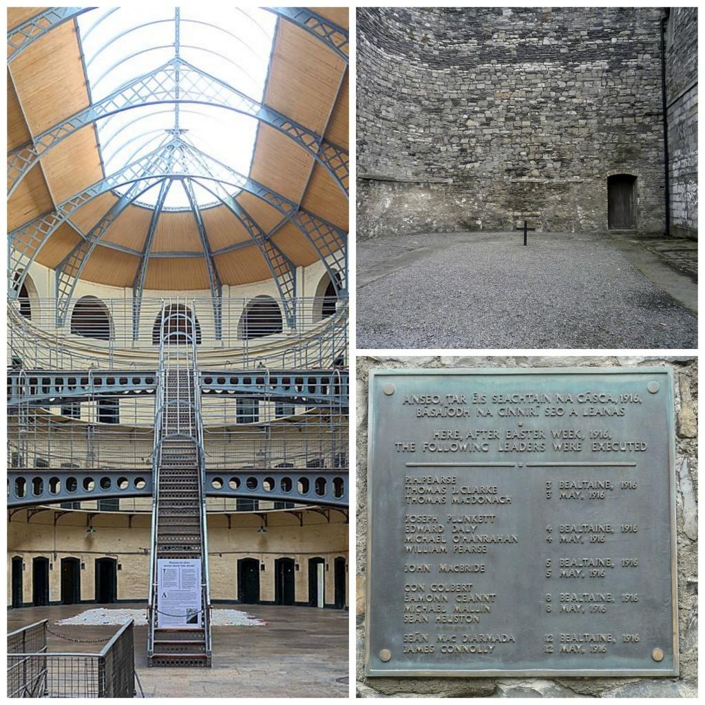 Kilmainham Gaol cells hall   © Velvet/WikiCommons / Site of executions at the goal  © Eweht/WikiCommons / Memorial plate in Kilmainham Gaol   © Paweł Drozd/WikiCommons
