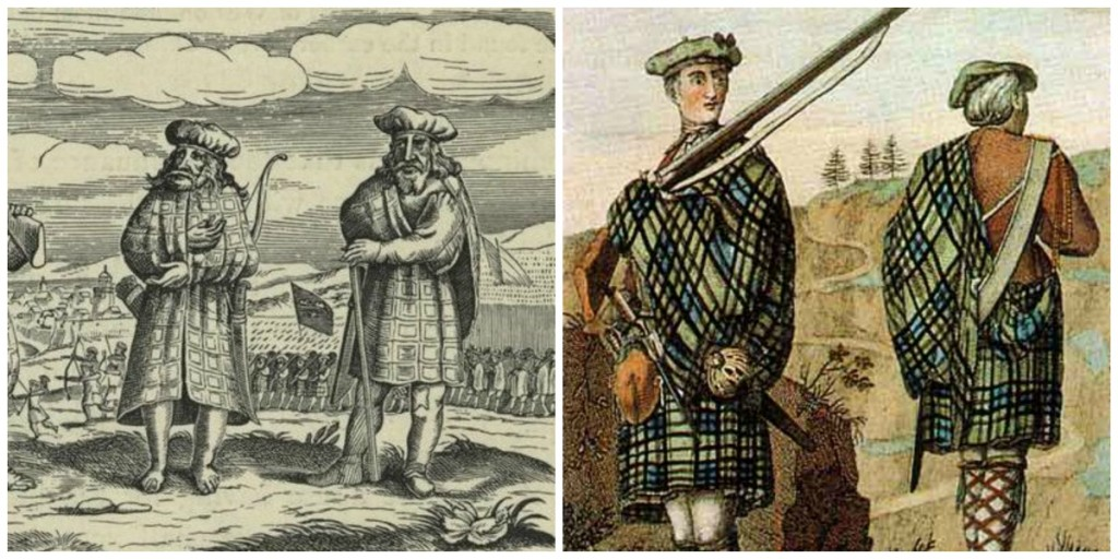 Early Depiction Of Kilt (1630) | © Kim Trainer/WikiCommons // Highland Soldier (1744) | © FastilyClone/WikiCommons