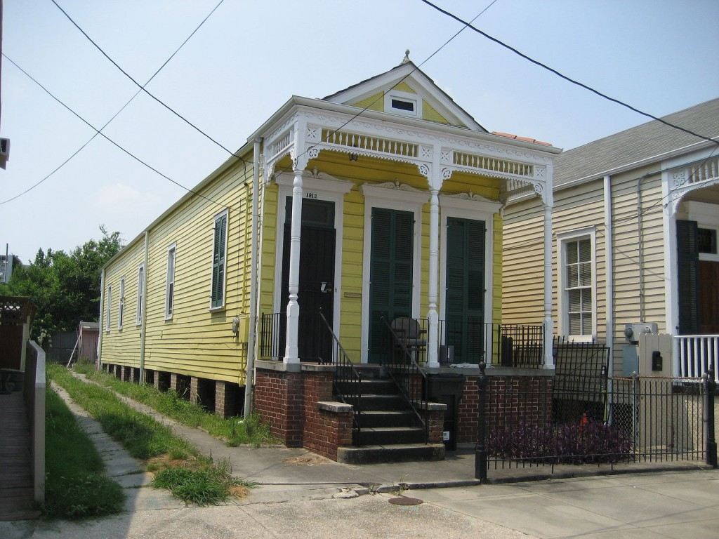 """Classic """"shotgun"""" style house on Rampart Street, Faubourg Marigny neighborhood of New Orleans 