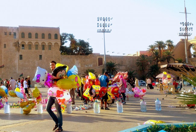Tripoli's Martyrs' Square, the landmark known for the Arab Spring protests, turns into a children's wonderland during Eid. | © Sarah Elmusrati