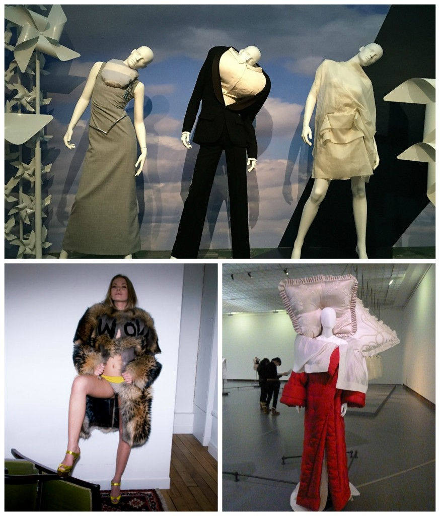 A selection of Viktor & Rolf's clothes, including a balloon stuffed shirt | © FaceMePLS / Flickr / An outfit from their Autumn 2008 collection | © Gabriel Moginot / WikiCommons / A dress from Viktor & Rolf's Bedtime Story collection | © Régine Debatty / Flickr