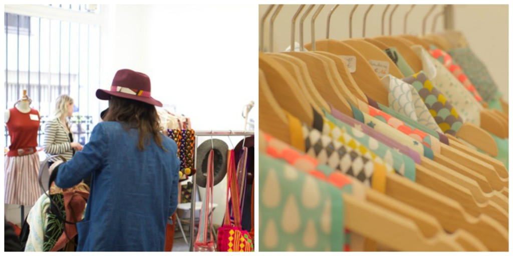 Shoppers and a rack of clothes at Le Boutique Ephémère │ Courtesy of Le Boutique Ephémère