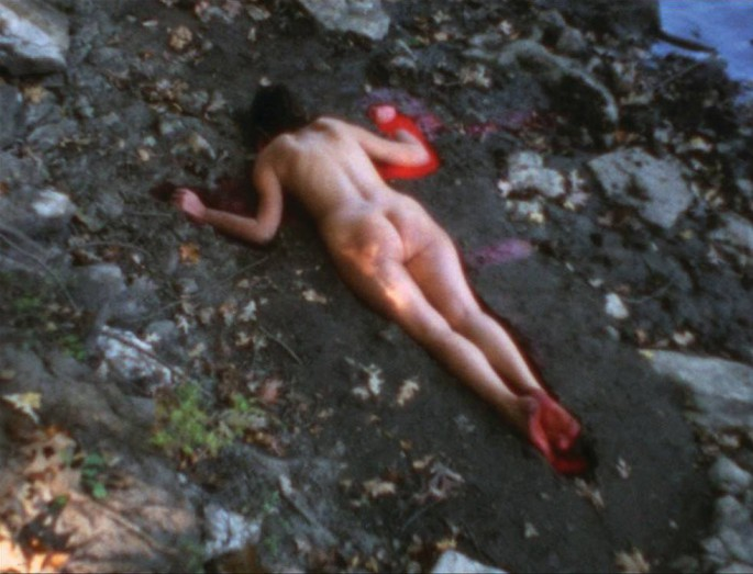 Ana Mendieta, Silueta Sangrienta, Super-8mm transferred to high definition digital media, colour, silent. | Image and artworks courtesy of the Estate of Ana Mendieta Collection, LLC and Galerie Lelong, New York.
