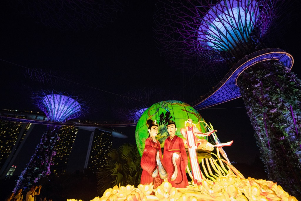 The Matchmaker lantern set at the Supertree Grove, it is the tallest at 11m courtesy of Gardens by the Bay