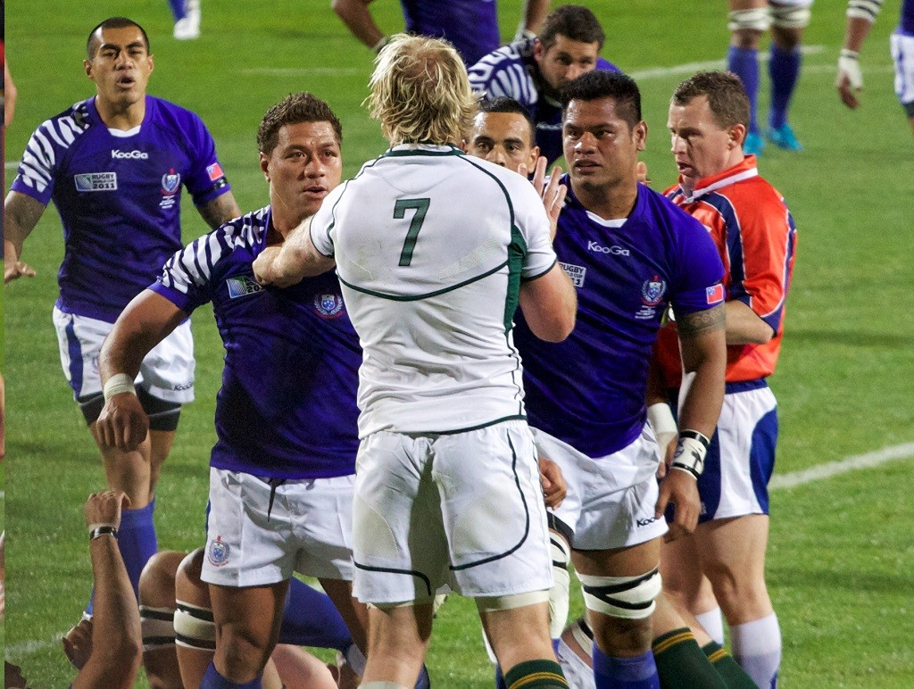 South Africa and Samoa compete in the 2011 Rugby World Cup. Pisi is on the far left | © Mark Meredith/Flickr