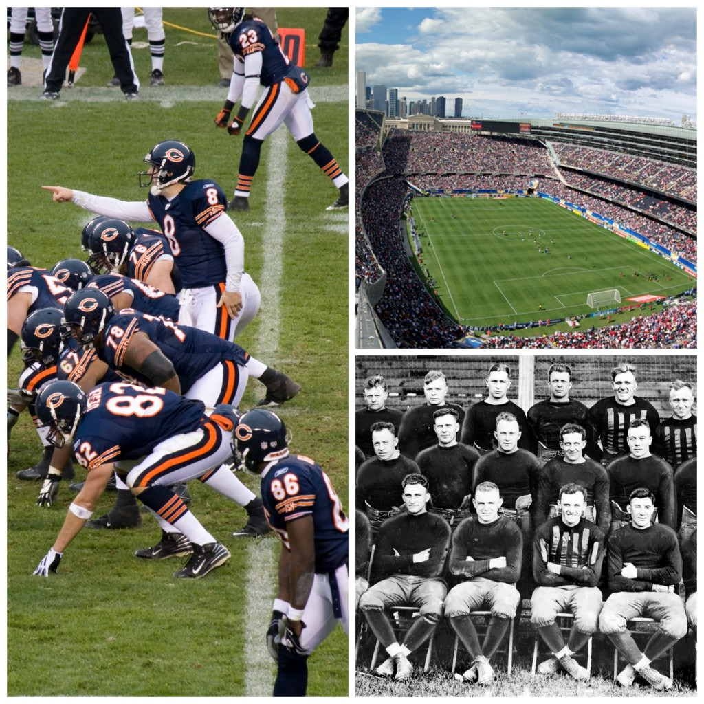 Left: Bears players in a 2008 game; Top Right: Soldier Field; Bottom Right: The Staleys team photo