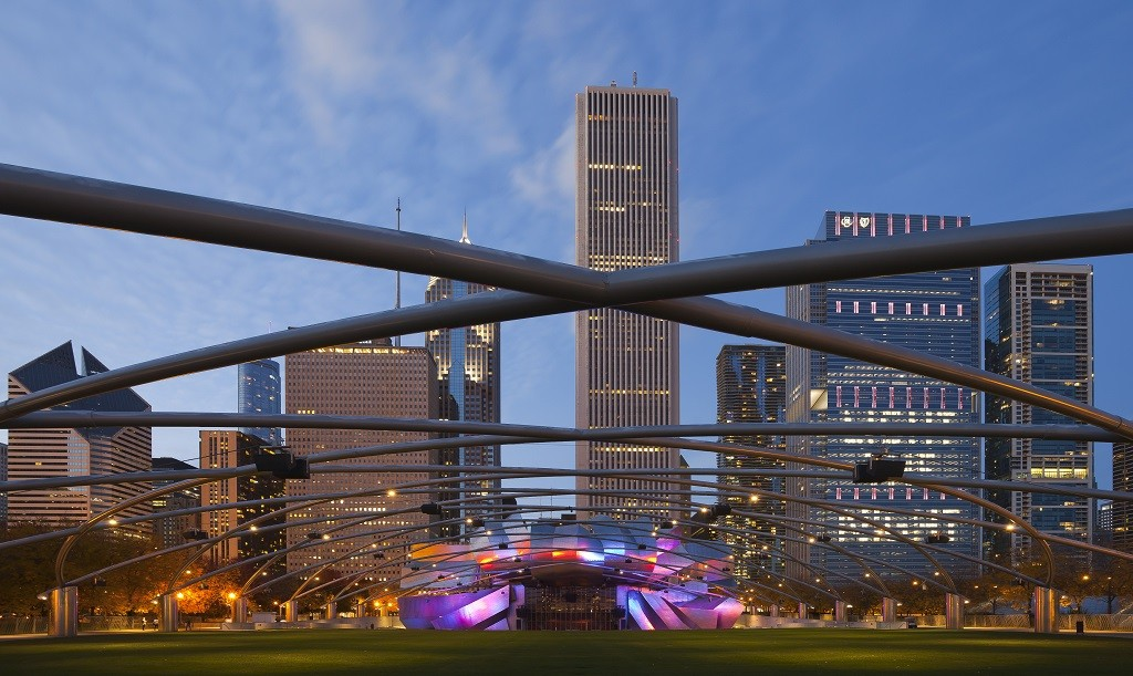 Jay Pritzker Pavilion in Millennium Park, courtesy of Wikipedia