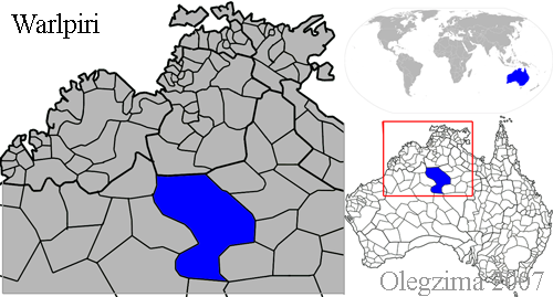 Warlpiri language (blue) | © Olegzima / WikiCommons