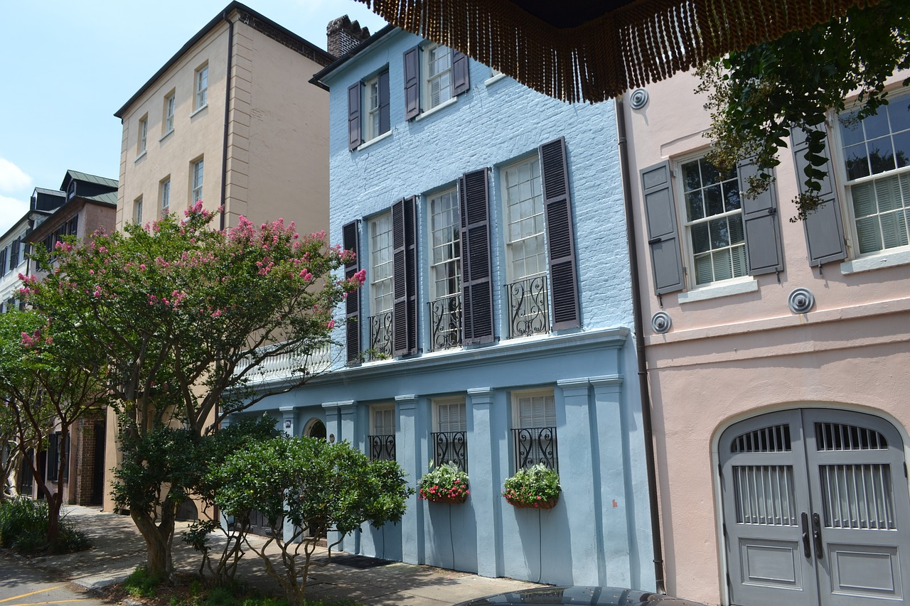 The most colorful cities in the us for Charleston row houses