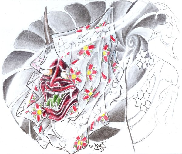 Japanese demon tattoo design | © violet-grimm/Deviantart