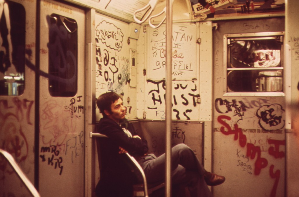 Heavily tagged New York City Subway car in 1973| Calonius, Erik / Wikicommons