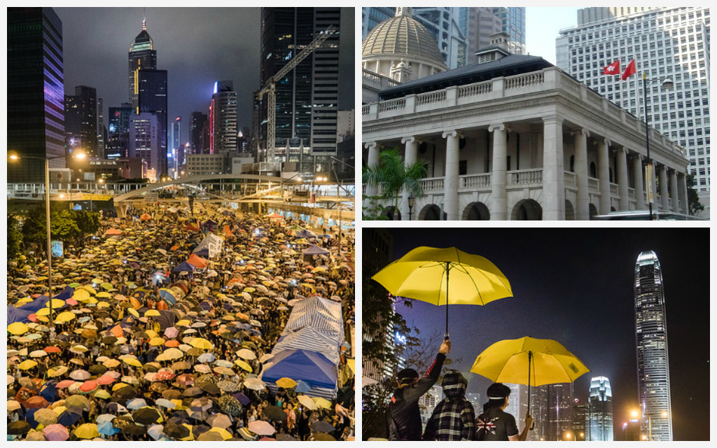 (Left) Umbrella Movement | Studio Incendo/Flickr (Top Right) Legislative Council Building | Jorge Láscar/Flickr (Bottom Right) Umbrella Movement | Studio Incendo/Flickr
