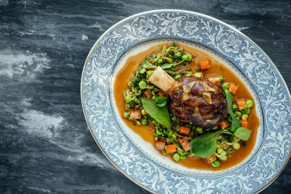 Lamb Shank Peas Wild Garlic At The Kitchin | Courtesy Of The Kitchin