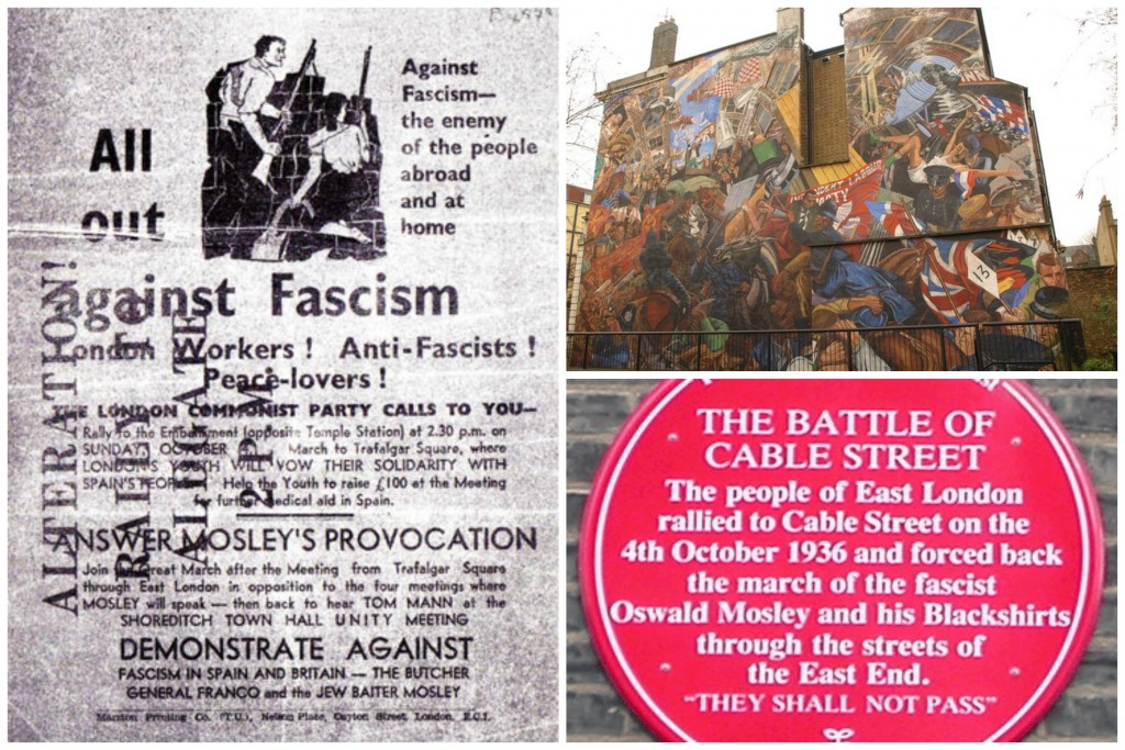 A London Communist Party leaflet calling for anti-fascist action in the 4th October 1936|Wikicommons / A mural depicting the Battle of Cable Street on the side of St George's Town Hall |©Derek Harper/Geograph / A plaque on Cable Street commemorating the battle|©Richard Allen/Wikicommons