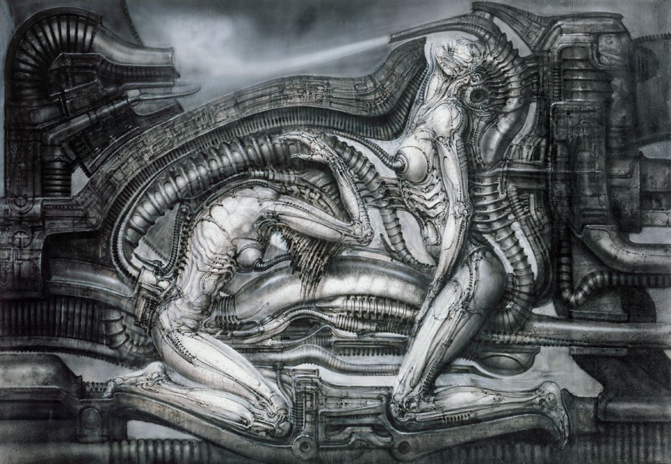 © Carmen Giger (HR Giger Estate). p. 220/221. Erotomechanics VII (Mia und Judith, first state), 1979. Acrylic and India ink on paper