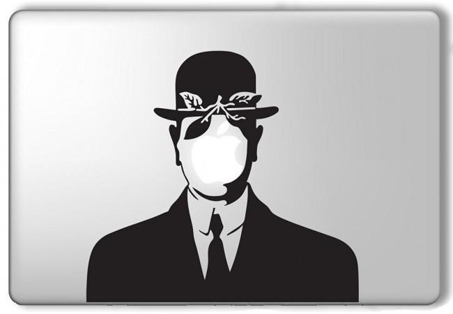 Rene Magritte's 'Son of Man'-inspired Apple Macbook laptop vinyl sticker decal, via Amazon